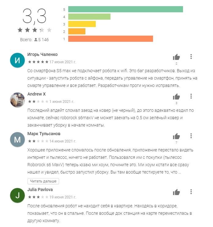 Приложение Roborock - отзывы пользоавателей