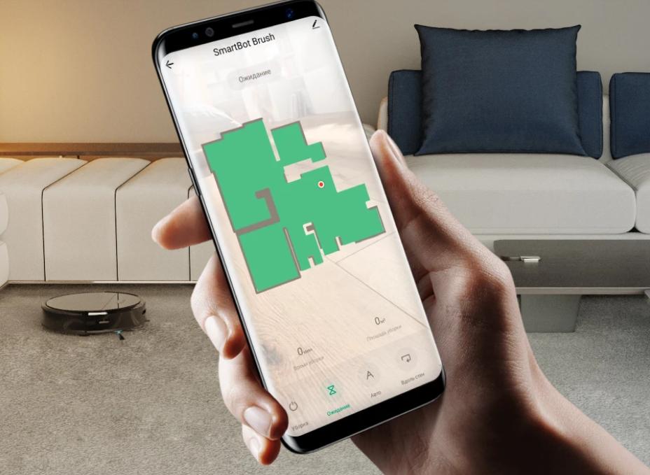 пылесос elari smartbot brush - управление со смартфона